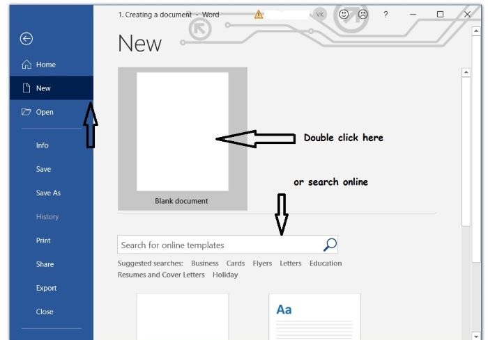 How to create a new blank document in MS word 2019?
