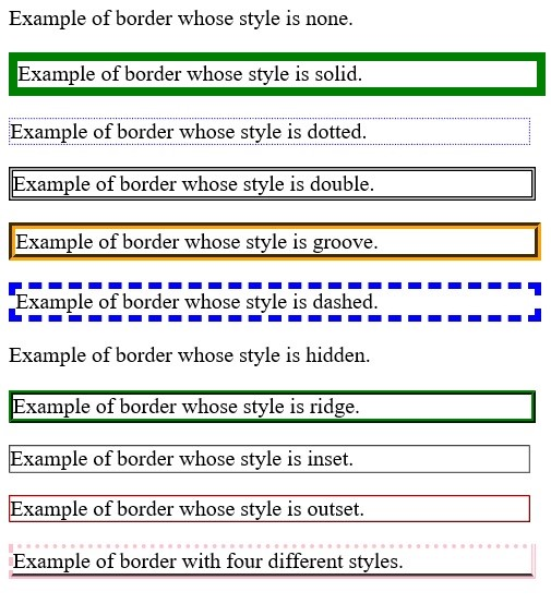 Setting CSS border style property, www.programmingtutorial.in