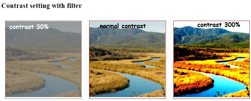 contrast() function of CSS filter, www.programmingtutorial.in