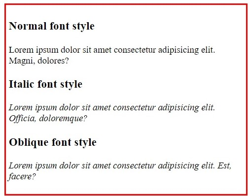 setting font-style in CSS, www.programmingtutorial.in