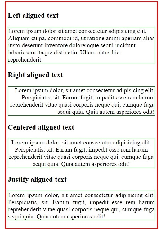 text-alignment in CSS, www.programmingtutorial.in